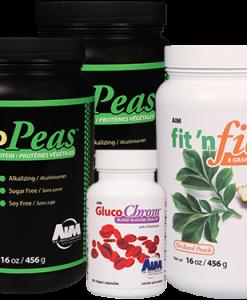 AIM ProPeas, GlucoChrome, and fit 'n fiber