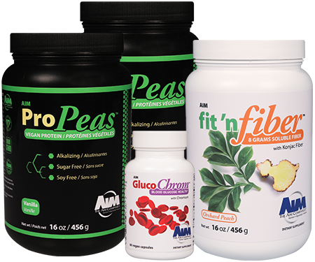 AIM ProPeas, GlucoChrome, and fit 'n fiber
